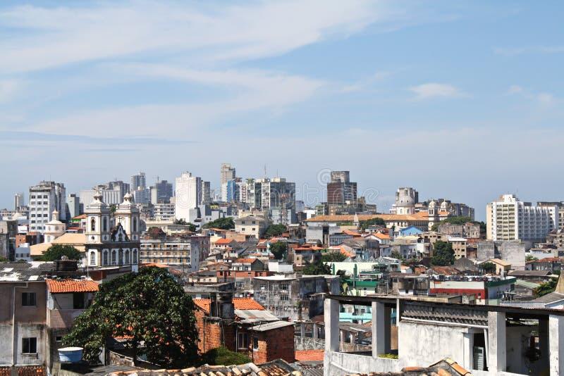 Visión sobre casas viejas en Salvador Bahía, el Brasil foto de archivo libre de regalías