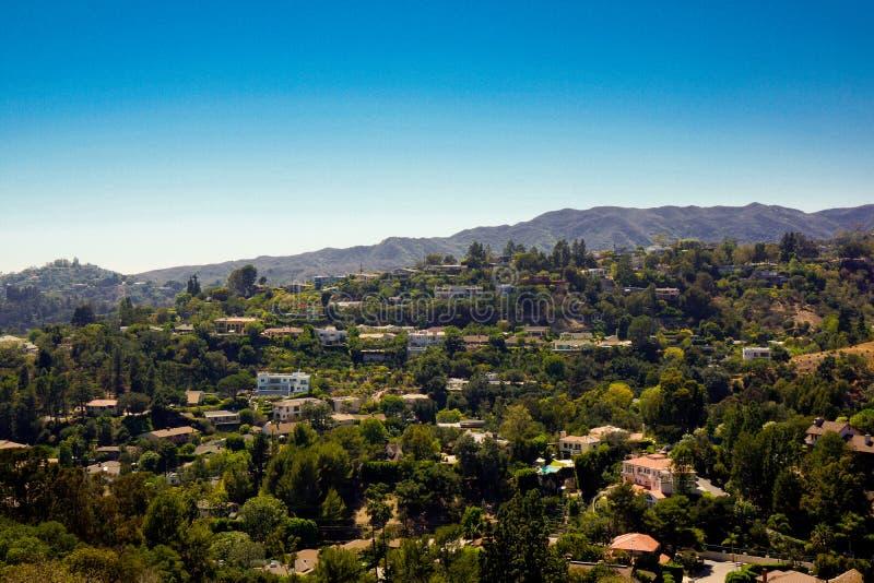 Visión sobre el área residencial de hollywood foto de archivo