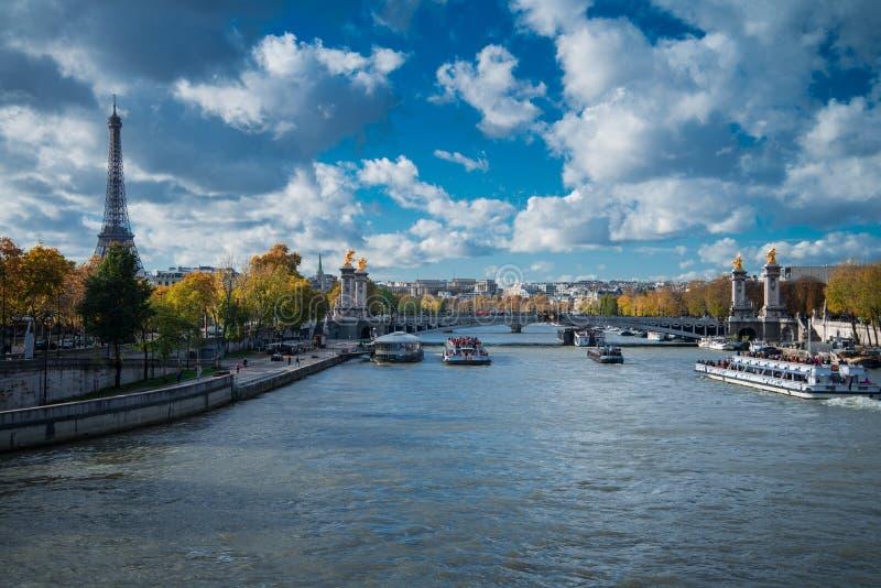 Visión sobre el río el Sena en el puente y la torre Eiffel i de Alejandro III imágenes de archivo libres de regalías