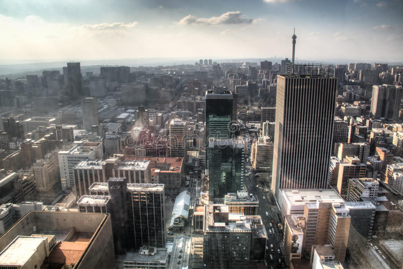 Visión sobre Johannesburgo céntrico en Suráfrica fotos de archivo libres de regalías