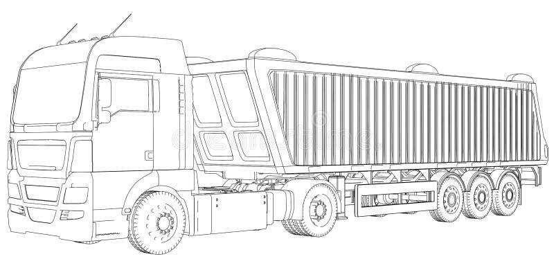Visión superior Camión del volquete en el fondo, el transporte transparente de la logística y el transporte de carga del cargo in ilustración del vector