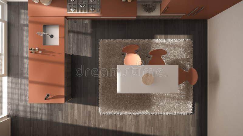 Visión superior, cocina de madera minimalistic moderna con diseño interior de la alfombra, amarilla y roja de la arquitectura de  stock de ilustración