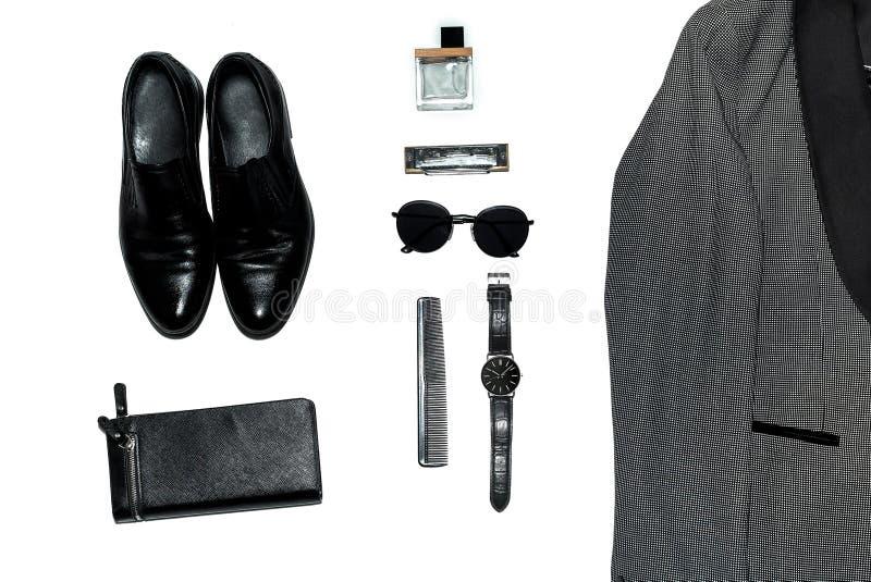 Visión superior en el estilo, la moda, la ropa y el estilo de los hombres foto de archivo