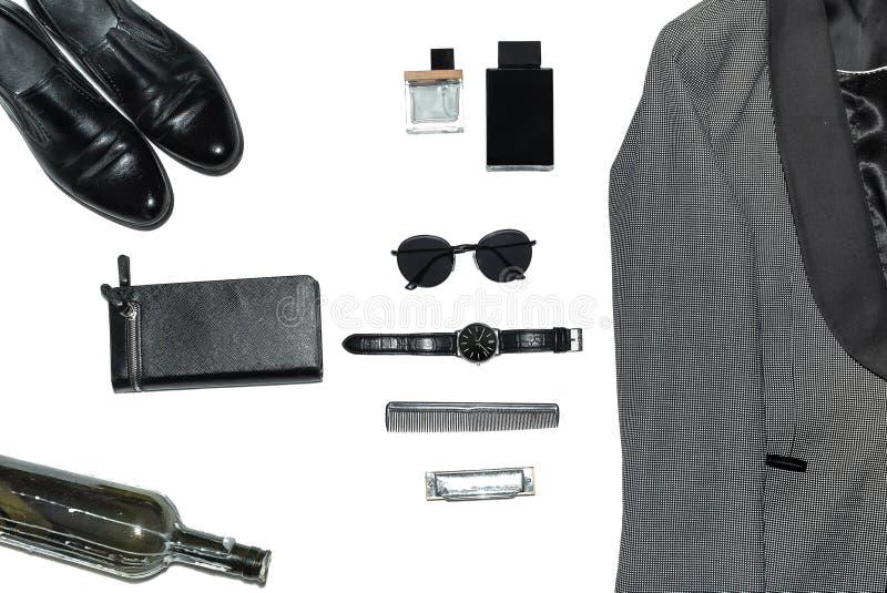Visión superior en el estilo, la moda, la ropa y el estilo de los hombres imagenes de archivo