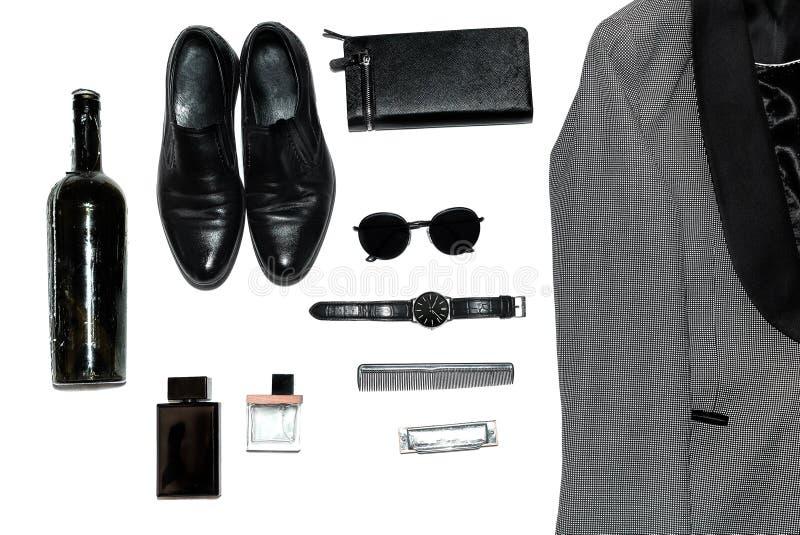 Visión superior en el estilo, la moda, la ropa y el estilo de los hombres imágenes de archivo libres de regalías