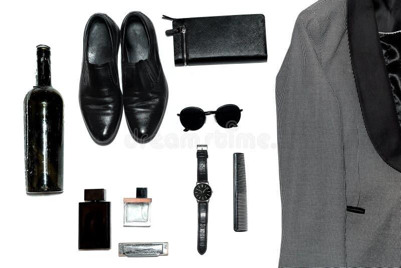 Visión superior en el estilo, la moda, la ropa y el estilo de los hombres foto de archivo libre de regalías