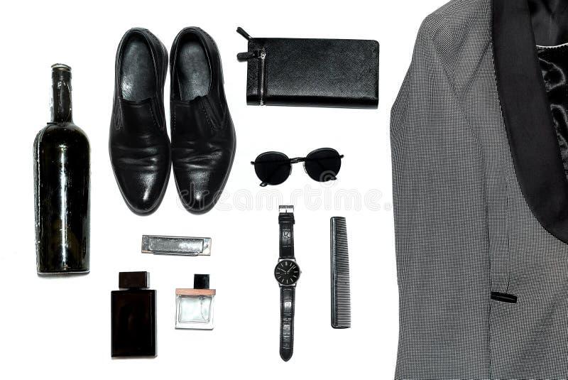 Visión superior en el estilo, la moda, la ropa y el estilo de los hombres fotos de archivo libres de regalías