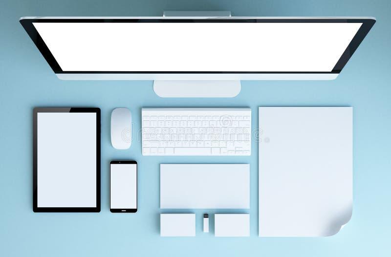 visión superior inmóvil azul stock de ilustración