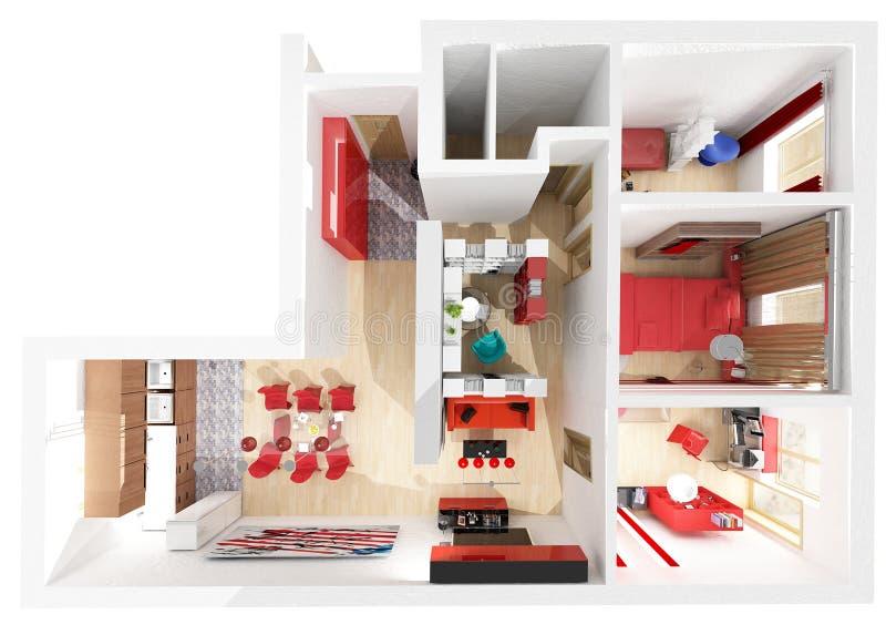 Visión superior interior plana imagen de archivo libre de regalías