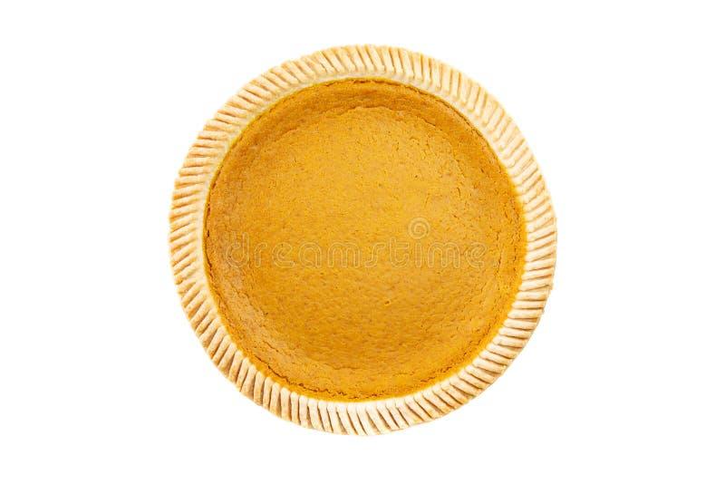 Visión superior - pastel de calabaza delicioso fresco en el fondo blanco foto de archivo libre de regalías