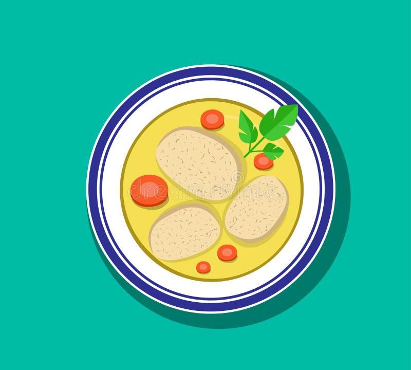 Visión superior, sopa cortada de los pescados de gefilte en el cuenco, vector stock de ilustración