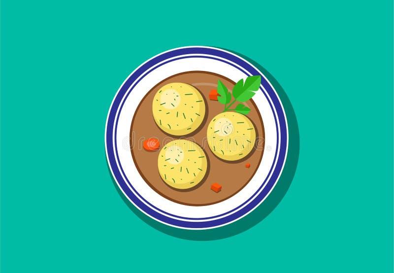 Visión superior, sopa deliciosa de la bola del Matzoh, vector libre illustration