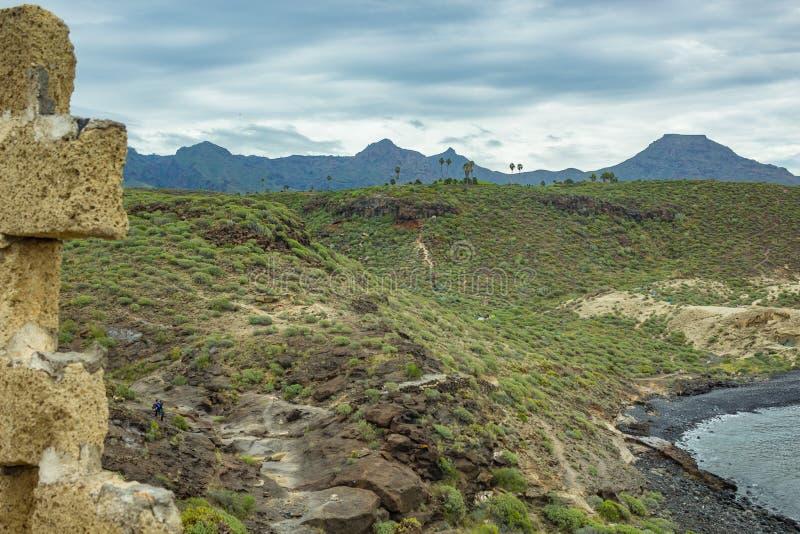 Visión típica desde la plantación de plátano abandonada vieja Línea de la costa en el sur de Tenerife fotos de archivo