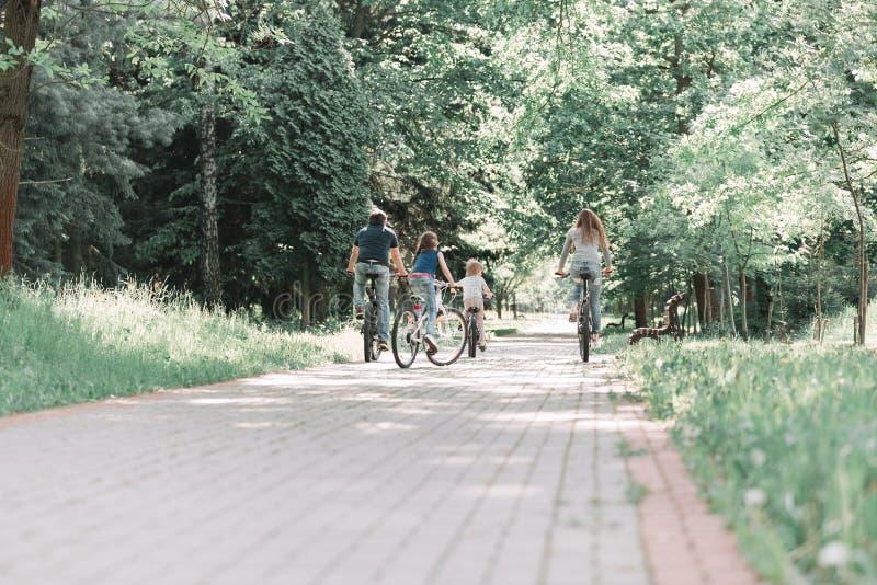Visión trasera familia unida en un paseo de la bici en el parque imagen de archivo