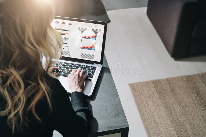 Visión trasera La empresaria joven se está sentando en la tabla, trabajando en el ordenador portátil con los gráficos, las cartas fotografía de archivo