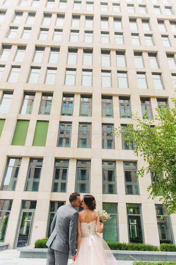 Visión trasera que besa y que abraza pares al aire libre fotos de archivo libres de regalías