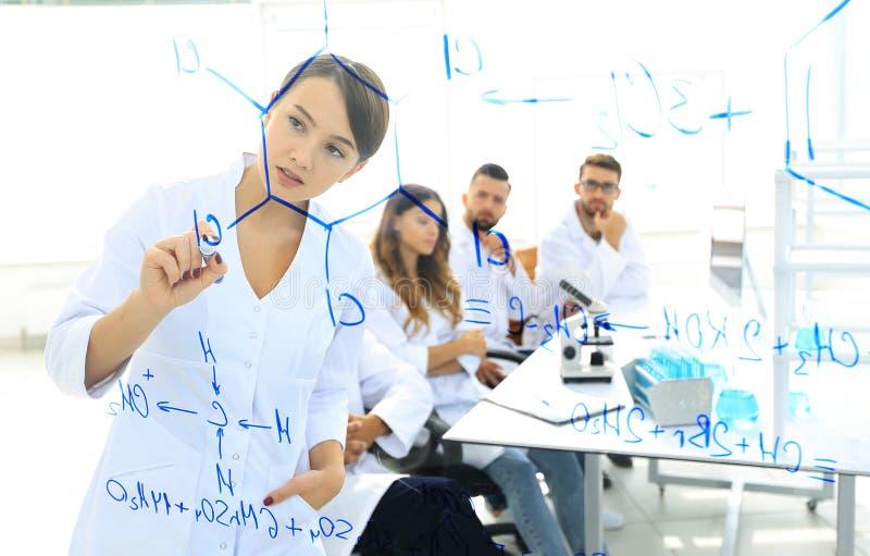 Visión a través del tablero transparente el científico de sexo femenino hace un informe a los colegas imagen de archivo