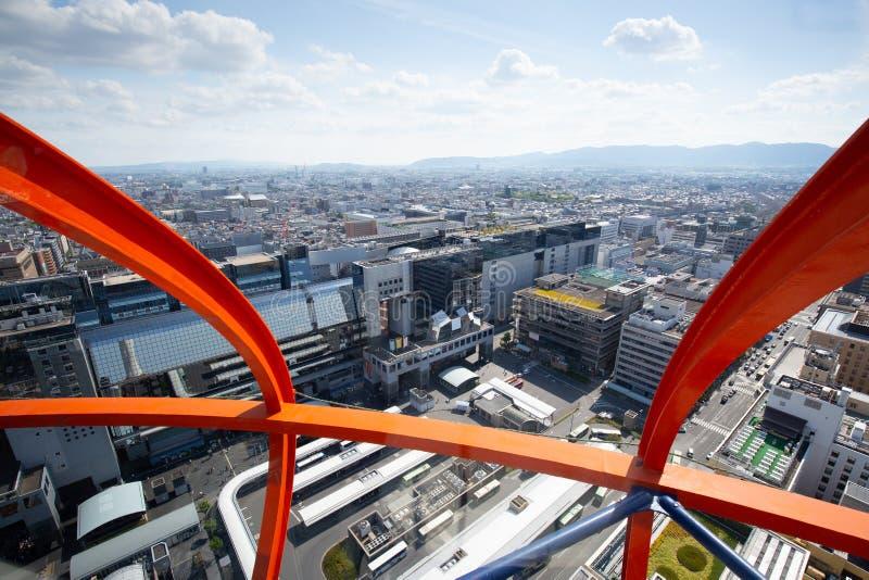 Visi?n a?rea sobre Kyoto Jap?n imágenes de archivo libres de regalías