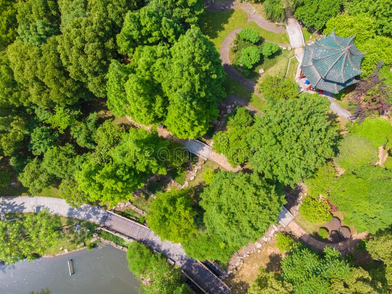 Visi?n a?rea sobre parque del lago moon en la primavera, Wuhan, Hubei, China foto de archivo libre de regalías