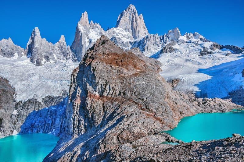 Visibilité directe Tres et lacs Sucia par la montagne de Fitz Roy photo libre de droits