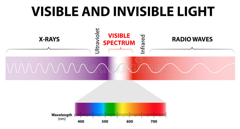 Visible and invisible light. The spectrum of waves includes infrared rays, visible light, ultraviolet rays, and X-rays. Human eyes are only sensitive to the stock illustration