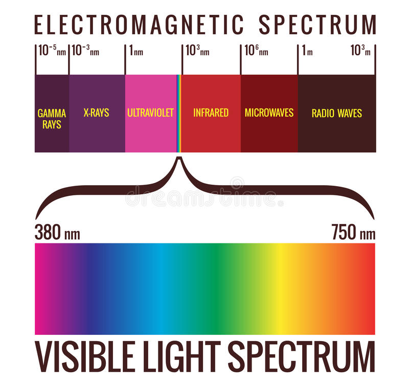 Visible Light Spectrum Diagram. Range of visible light within the electromagnetic spectrum royalty free illustration