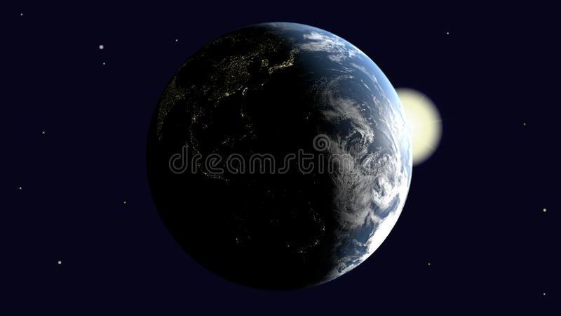 Are visible Oceania and Australia, Southeast Asia and India on earth illuminated by the sun rotates around its axis into space, 3d stock illustration