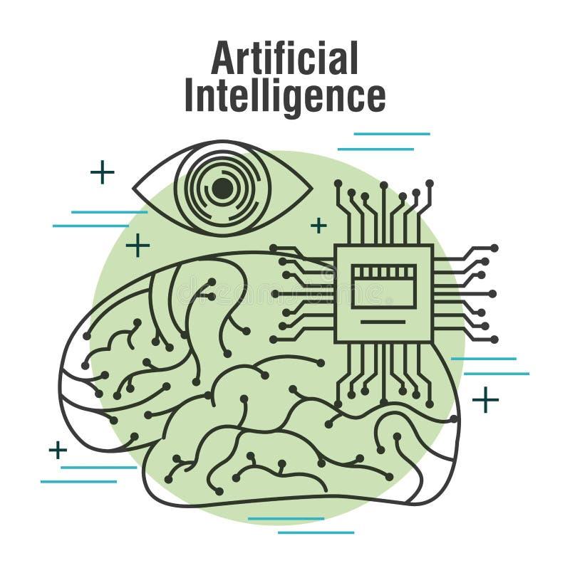 Visie en motherboard van kunstmatige intelligentie de menselijke hersenen stock illustratie