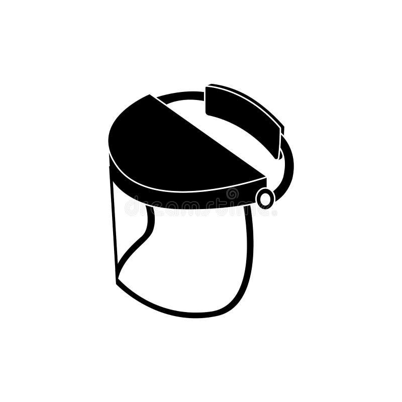 Visiera di sicurezza per protezione del fronte, maschera di vetro dello schermo del casco per saldatura e lavori di costruzione royalty illustrazione gratis