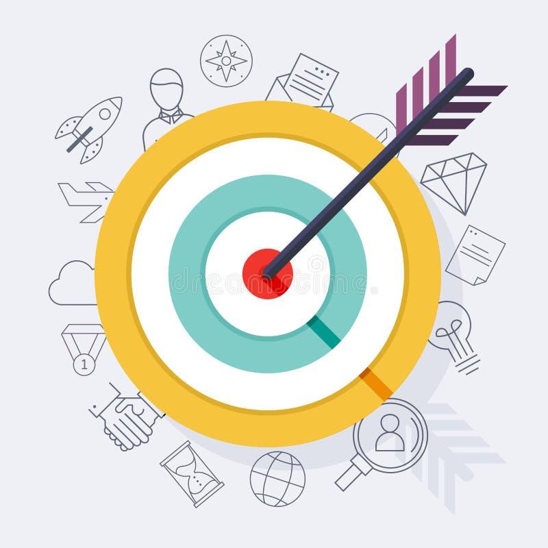 Visieren Sie Bullauge oder Pfeil auf flacher Ikone des Ziels an Flaches Design modern lizenzfreie abbildung