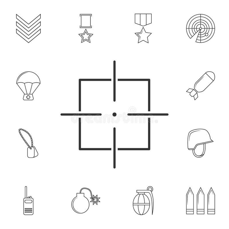Visieren Sie Ikone, Anblickscharfschütze-Symbollinie Ikone an Element der populären Armeeikone Erstklassiges Qualitätsgrafikdesig stock abbildung