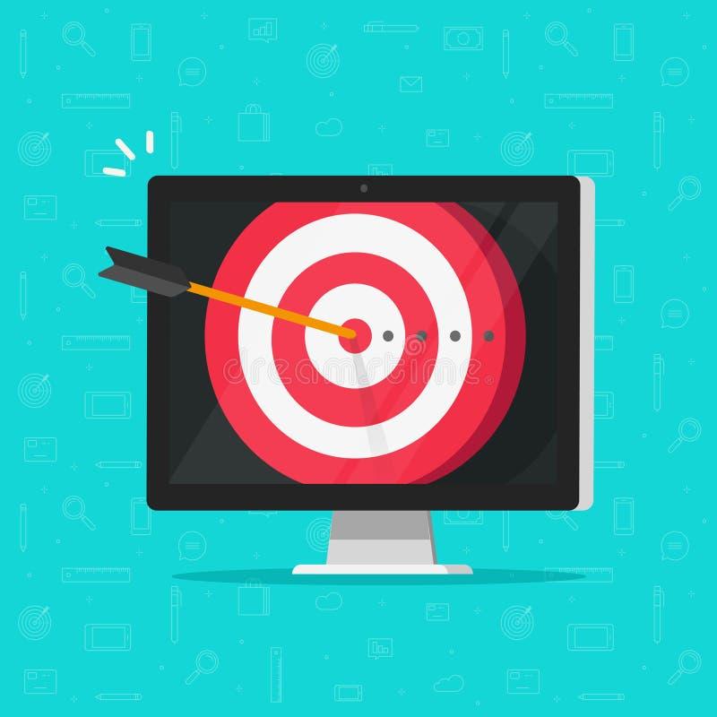 Visieren Sie Ziel mit Pfeil im Bullauge auf Computeranzeigenvektor, Konzept des ErfolgsUnternehmensziels, digitales Marketing an lizenzfreie abbildung