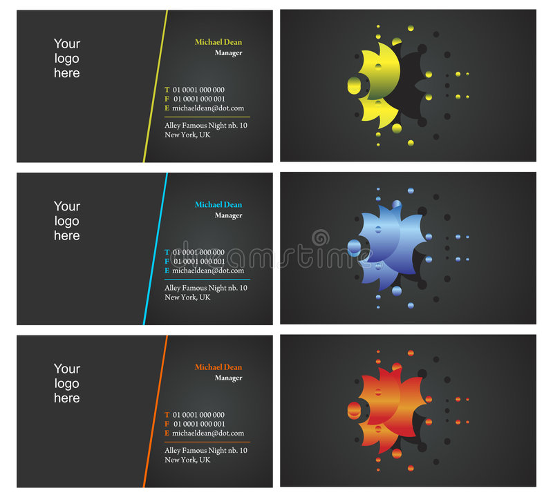 Vising cards - two sided - 19. Fresh designs for card, 100% vectors royalty free illustration