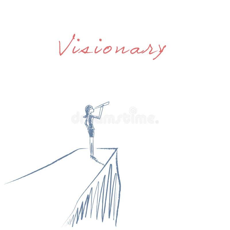 Visionär illustration för ledarskapbegreppsvektor med affärskvinnan som ser till och med teleskopet från en klippa tecknad hand royaltyfri illustrationer