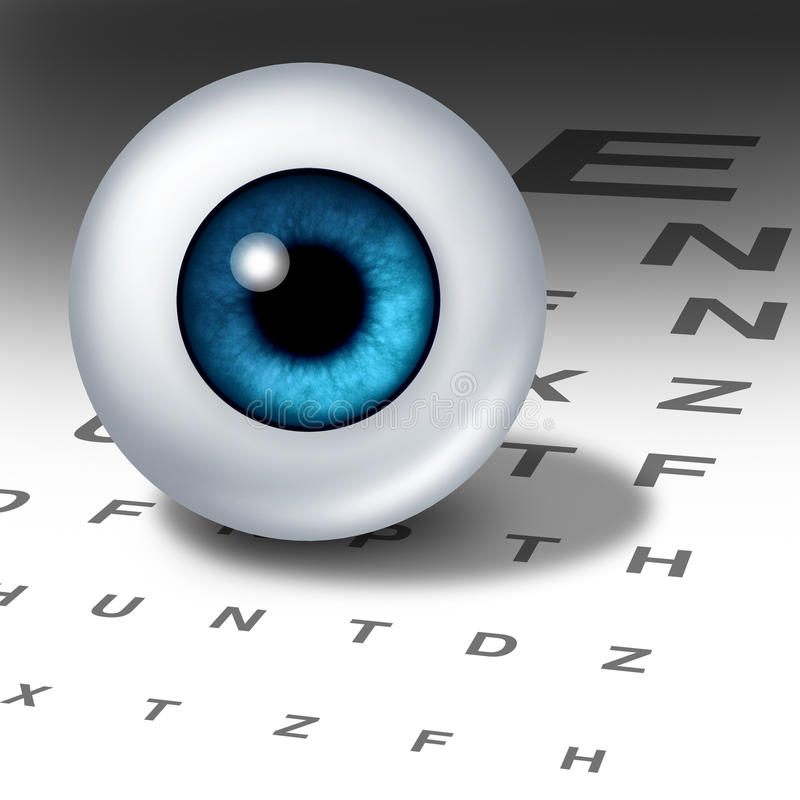 Vision. And eyesight for healthy eyes with good ocular focus using an eye chart to help focus for near sighted and far sighted retina and lens diagnosis from an stock illustration