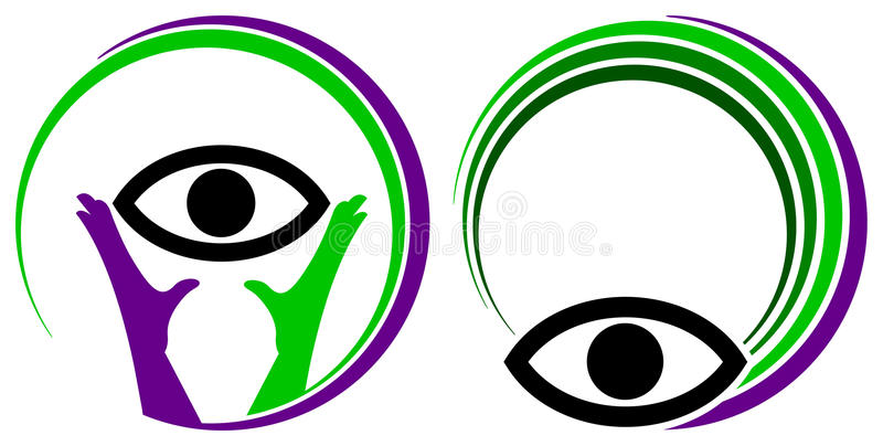 Vision. Isolated line art vision logo set royalty free illustration