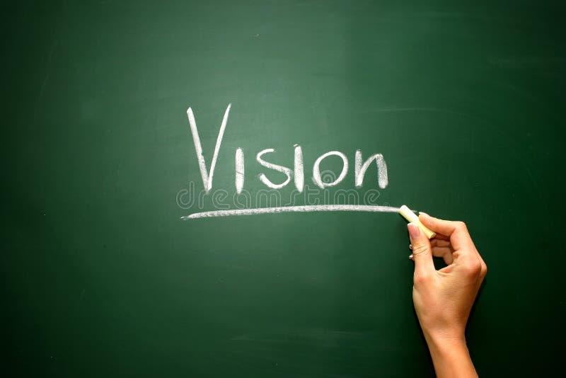 Vision auf der Tafel mit Kreideschreiben stockfotografie