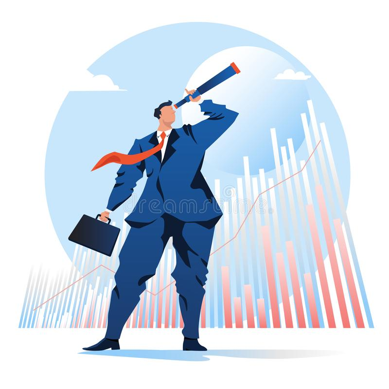Vision of business. businessman looking telescope with a graph stock background. vector illustration. Flat cartoon character. Graphic design. Landing page vector illustration