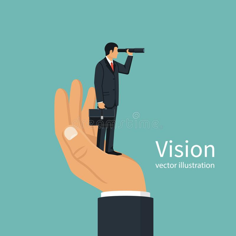 Vision business concept. Successful businessman looking in telescope, seeing future. Vector design. on background. Spyglass in hand. Search solution. Forward royalty free illustration