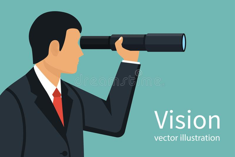 Vision business concept. Successful businessman looking in telescope, seeing future. Vector illustration flat design. Isolated on background. Spyglass in hand royalty free illustration