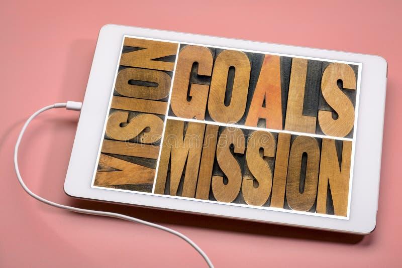 Vision, buts, concept de mission sur le comprimé photos stock