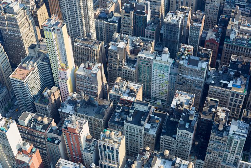 Vision claire aérienne de New York City Manhattan avec des gratte-ciel images libres de droits