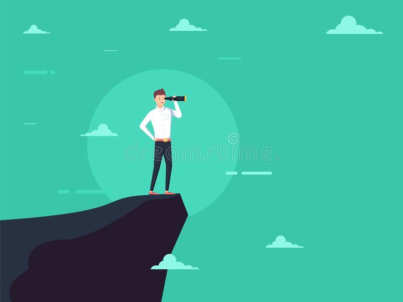 Vision concept in business with icon of businessman and telescope, monocular. Symbol leadership. Strategy mission and objectives. Eps10 illustration royalty free illustration
