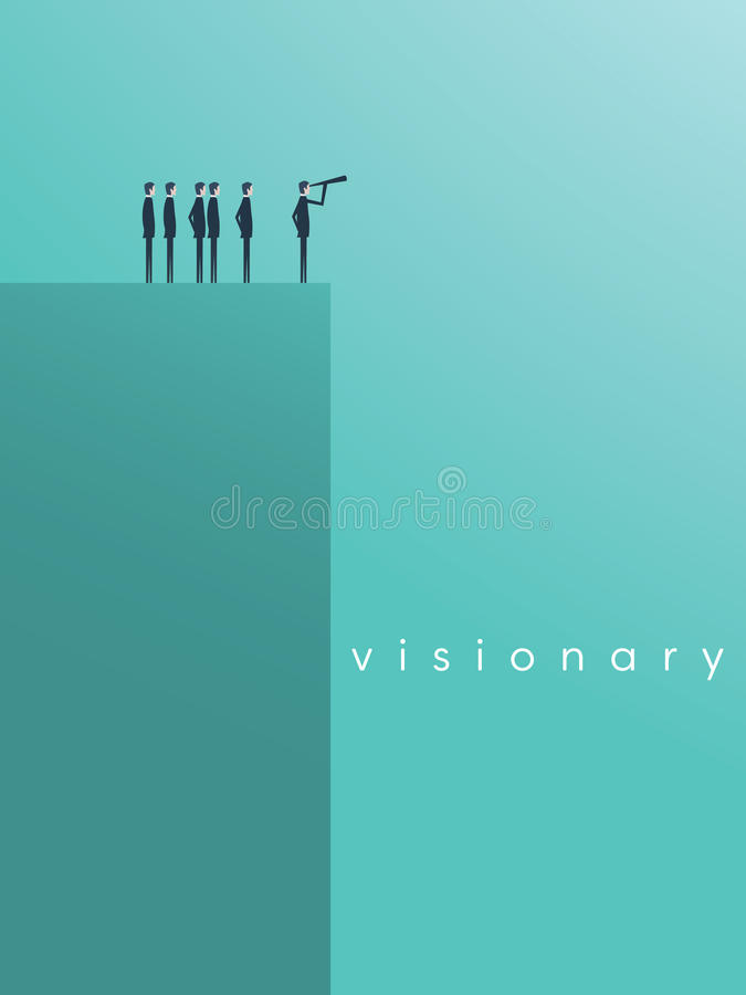 Vision concept in business with vector icon of businessman and telescope, monocular. Symbol leadership, strategy. Mission, objectives. Eps10 vector royalty free illustration