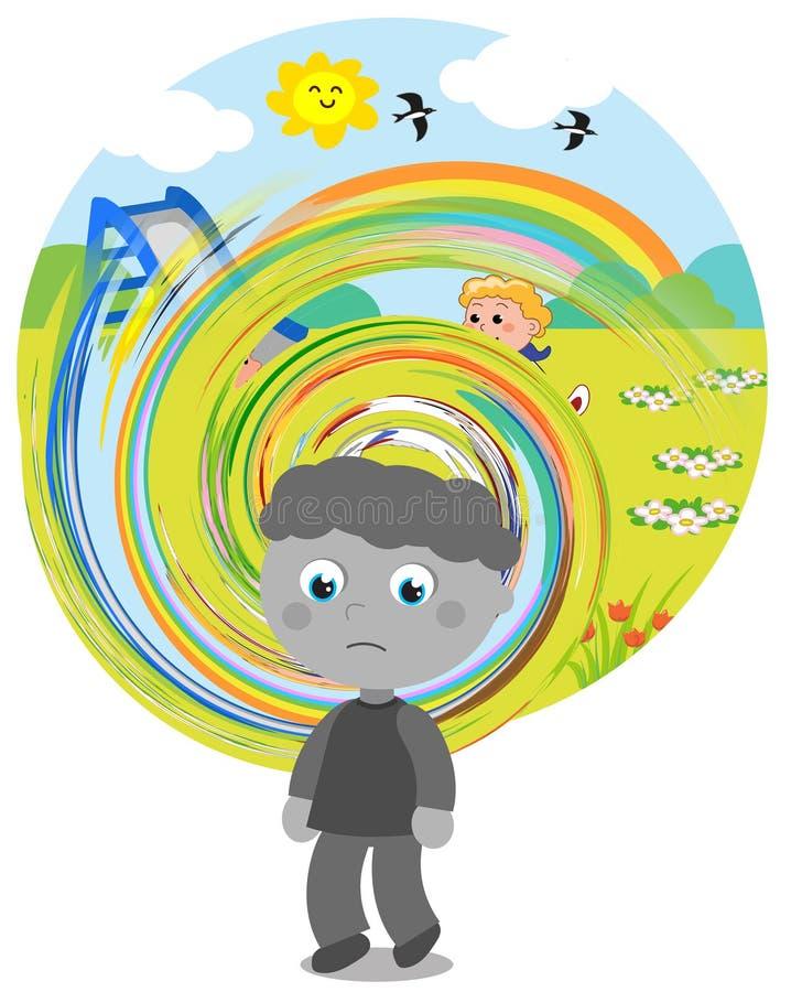 Vision confuse de garçon autiste illustration libre de droits