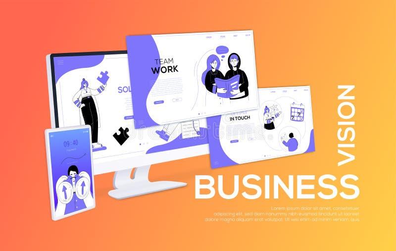 Vision d'affaires - bannière colorée de Web de style plat de conception illustration de vecteur