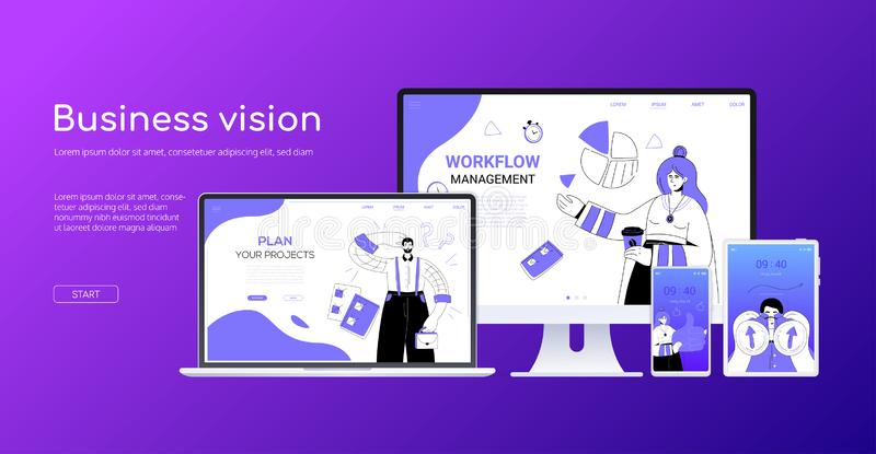 Vision d'affaires - bannière colorée de Web de style plat de conception illustration stock