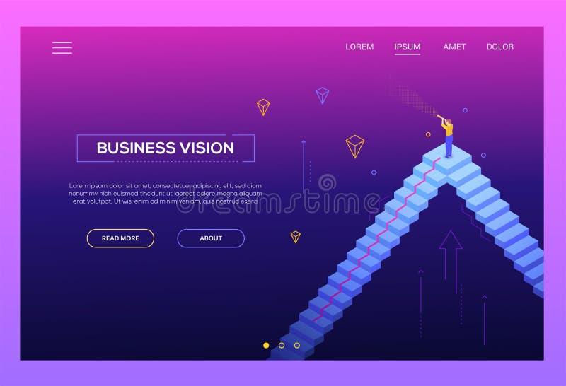 Vision d'affaires - en-tête isométrique moderne de site Web de vecteur illustration de vecteur