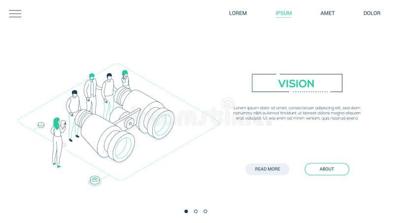 Vision d'affaires - ligne bannière isométrique de Web de style de conception illustration de vecteur