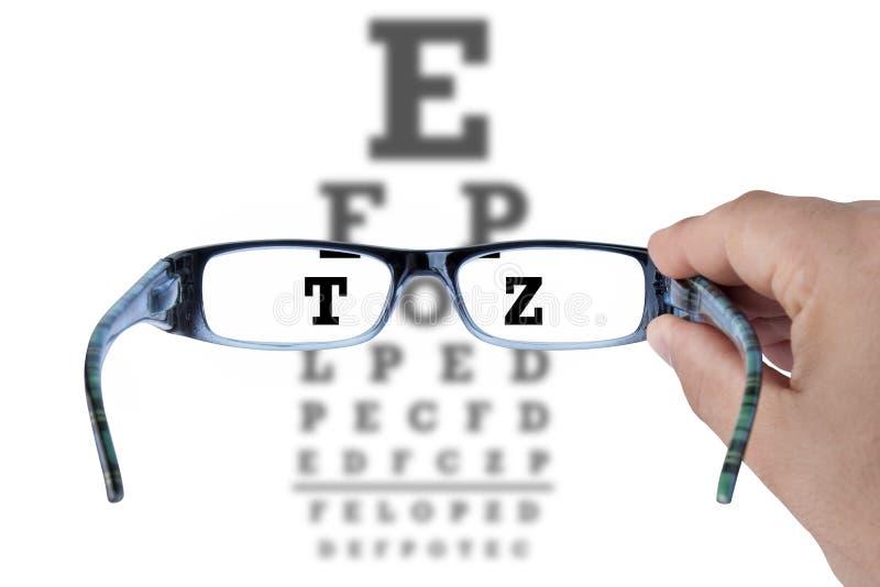 Vision d'essai de lunettes en verre de diagramme d'oeil photo libre de droits